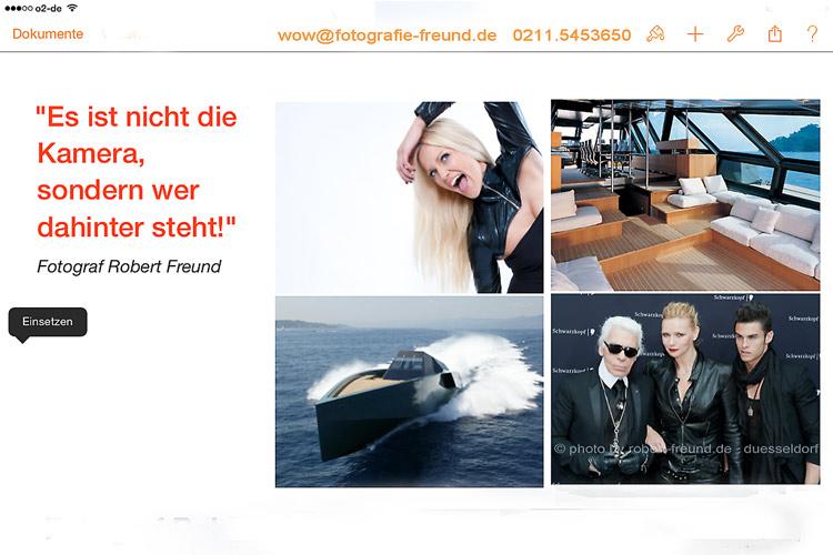 Startbild Foto der  Webseite von Fotograf Robert Freund mit Fotostudio in Düsseldorf als Screen Shot mit dem apple ipad. Das Foto ist auch bei google plus und facebook zu sehen.